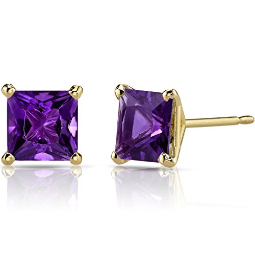 14K Yellow Gold Princess Cut 2.00 Carats Amethyst Stud Earrings