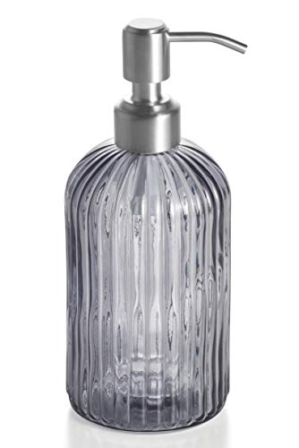 Easy-Tang 18 Oz Grey Glass Soap Dispenser - Refillable Wash Hand Liquid, Dish Detergent, Shampoo Lotion Bottle with Brushed Nickel Pump Holder, Ideal for Bathroom Countertop, Kitchen, Laundry Room ()