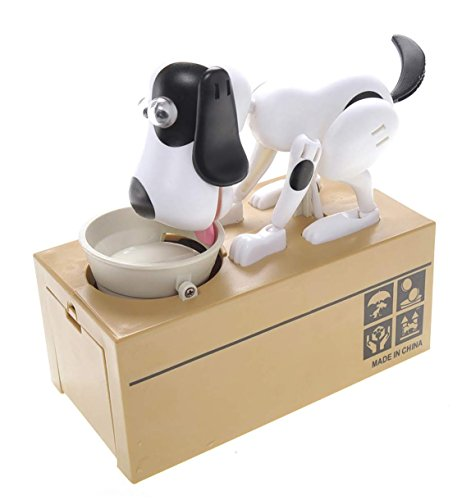 PowerTRC Toy Figure Dog Piggy Bank (White Black)