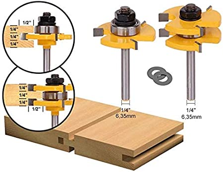 """2 Bit Tongue And Groove Router Bit Set 1//4/"""" X 1//4/"""" Shank Wood Cutter Tool Kits S"""