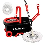 kilokelvin 360 Spin Mop Bucket with 2 Extra Microfiber Head Refills 2x Wheels