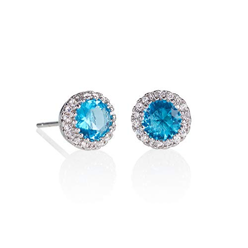 namana Halo Stud Earrings with Light Blue Stones. Silver Halo Stud Earrings with AAA Turquoise Blue Cubic Zirconia Stones
