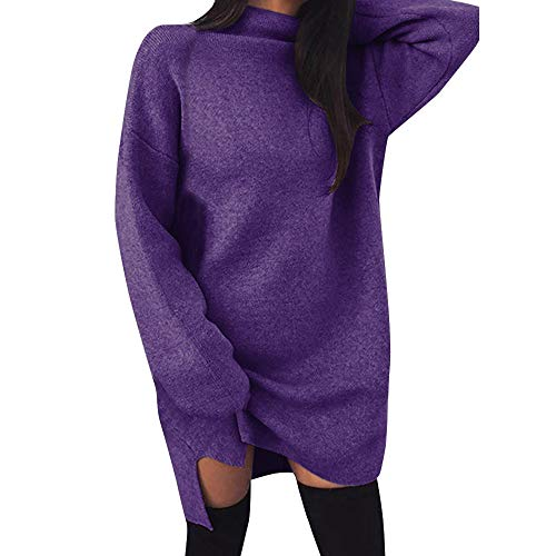NRUTUP Dresses for Women Work Casual Casual Turtleneck Long Sleeve Mini Dress Evening Party Dress (Purple,L) ()