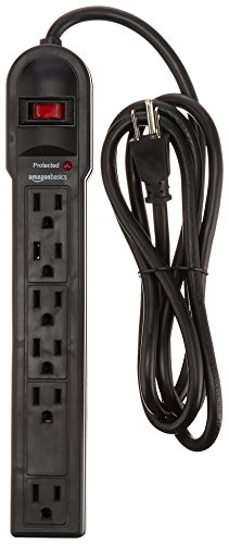 AmazonBasics 6-Outlet Surge Protector Power Strip, 6-Foot Long Cord, 790 Joule - Black