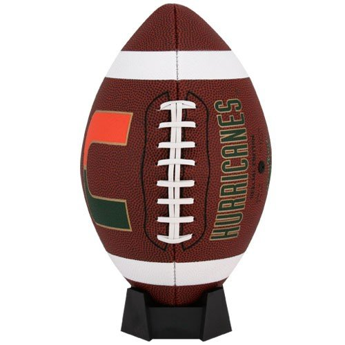NCAA Game Time Full Size Football , Miami Hurricanes, Brown, Full -