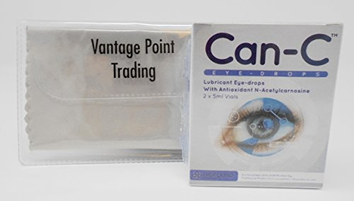 Can-C Lubricant Eye Drops with N-Acetylcarnosine, 1-box, (2) x 5 ml Vials w/FREE Vantage Point Trading Premium Microfiber Multipurpose Cleaning - Eye N