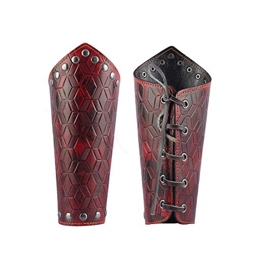 GelConnie Leather Gauntlet Wristband Medieval Bracers Viking Wrist Guards Archery Guards Bracers Wide Arm Armor Cuff for Women Men Halloween Renaissance Costume Props]()