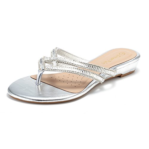 DREAM PAIRS Women's Jewel_01 Silver Fashion Rhinestones Design Slides Sandals Size 9 M US by DREAM PAIRS