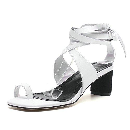 auténtica de piel talón el de tacón tobillo con Blanco sandalias mujer zapatos cordón tacón Sandalias de alta para de calidad con en alto HT6anvqxw