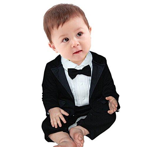 YiZYiF 2pcs Kleinkind Baby Jungen Bekleidung Set Coat + Body Jumpsuit Gentleman Taufe Anzug Weiß + Schwarz 0-3 Monate