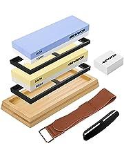 Dekal slipsten set för kniv, 2-i-1 slipsten dubbelsidig korn 400/1000 3000/8000 , med halkfri bambubas, silikonhållare plattsten, läderremsor och vinkelstyrning
