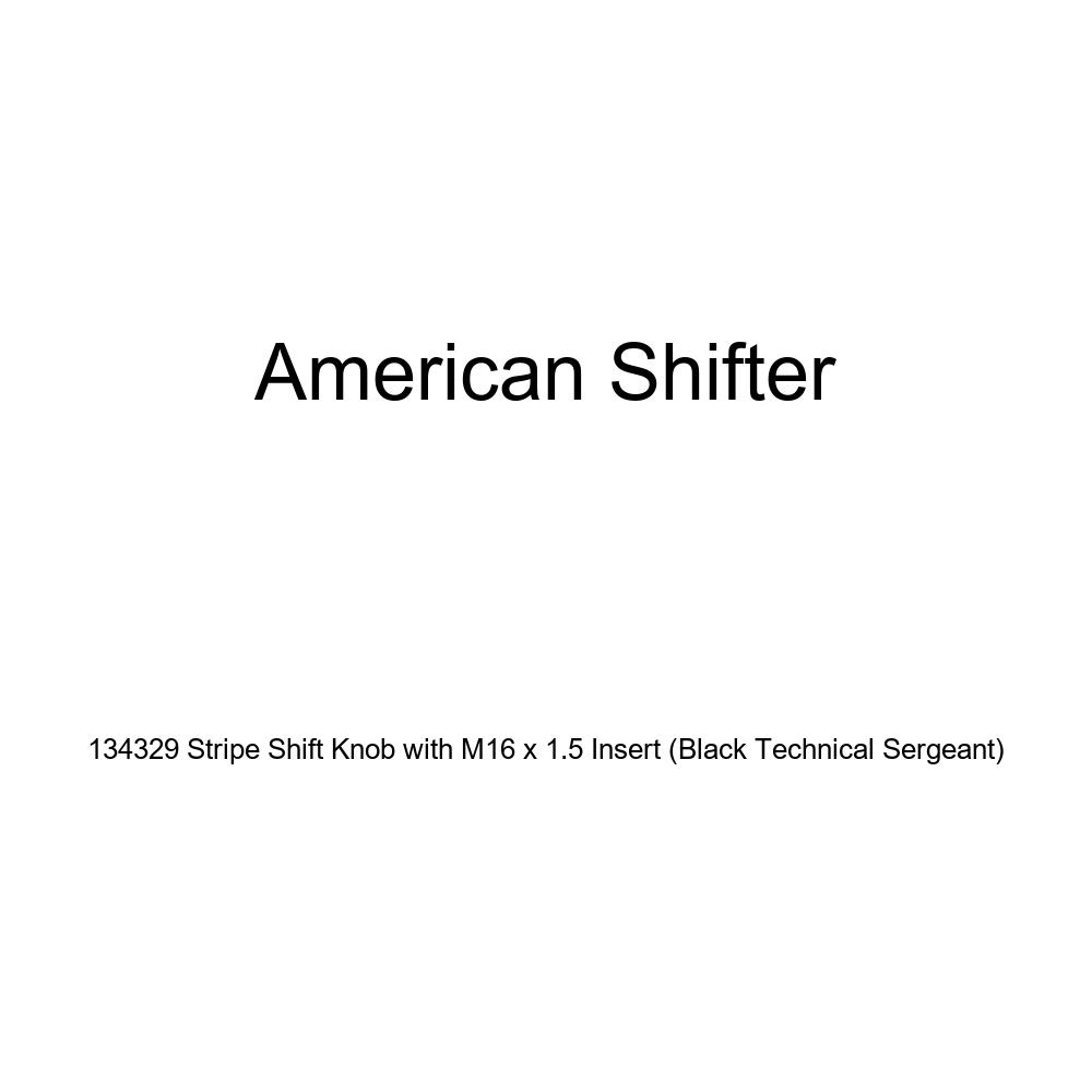 American Shifter 134329 Stripe Shift Knob with M16 x 1.5 Insert Black Technical Sergeant