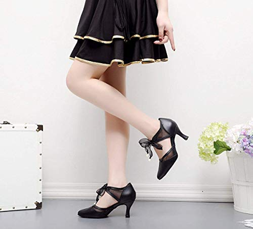 5 Pumps Girls Uk Black Ballroom Ladies colore Toe Tj7131 Dancing Dimensione Ribbon Qiusa H861vwqx
