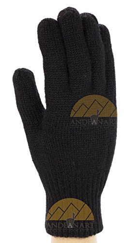 Alpaca Gloves - Reversible Alpaca Gloves with Aloe Vera- Best Natural Thermal Protection (Medium, Black and Light Grey)