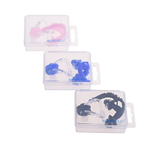 BCP 3 Sets Waterproof Soft Silicone Gel Corded String Ear Plugs and Nose Clip for Swimming