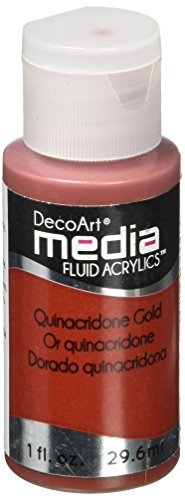Media Fluid - DecoArt Media Fluid Acrylic Paint, 1-Ounce, Quinacridone Gold