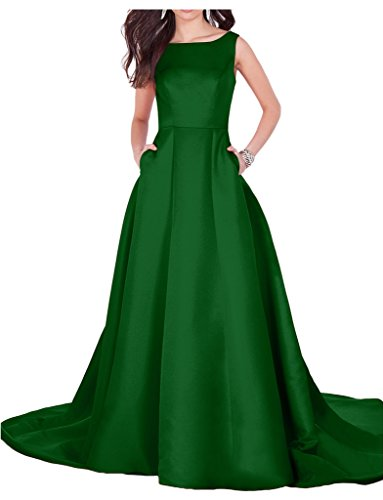 Eevening Satin Formal Party Dress Ball Gorgeous Green Backless Dress Sleeveless Avril Sweep Hunter qI4HwxYx