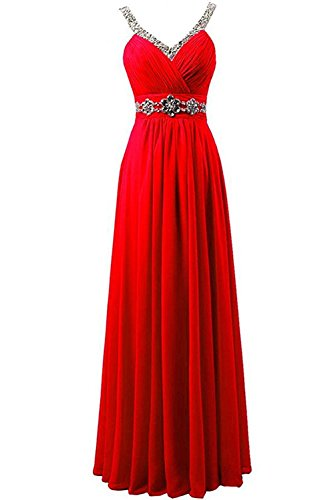 Damen Partykleid Abendkleid Brautfernkleid Strass Ivydressing bodenlang Falte Chiffon Rot Schnuerung aermellos sexuell traeger zwei HT7dq4w