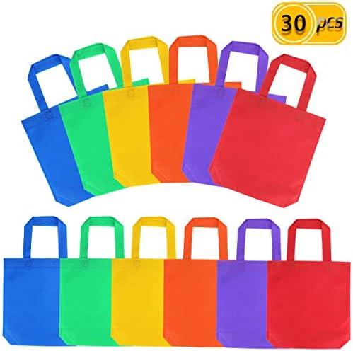 UPlama 30枚 10インチ×10インチ パーティーバッグ 不織布 パーティーギフト トートバッグ 持ち手付き ポリエステル不織布素材 アソートカラフル ブランクキャンバスバッグ