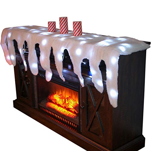 Trenton Gifts Lighted Snow Fireplace Decor for Christmas Village and Icicle Holiday Mantel Scarf (Decorating Christmas Bookcase)