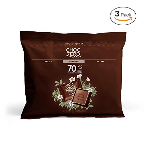 ChocZero 70% Dark Chocolate, Sugar free, Low Carb, No Sugar Alcohol, No Artificial Sweetener, All Natural, Non-GMO - (3 Bags, 30 pieces) - Nut Bars Natural Be