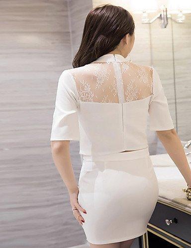 PU&PU Robe Aux femmes Deux Pièces Simple,Couleur Pleine Mao Mini Polyester , black-2xl , black-2xl