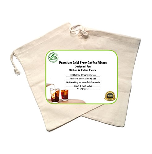 "Cold Brew Coffee Maker Filter Premium Organic Cotton Nut Milk Bag Reusable 9.5"" x 6"" - 2 Pack"