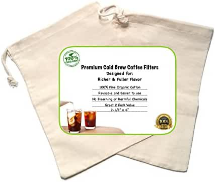 Cold Brew Coffee Maker Filter Premium Organic Cotton Nut Milk Bag Reusable 9.5