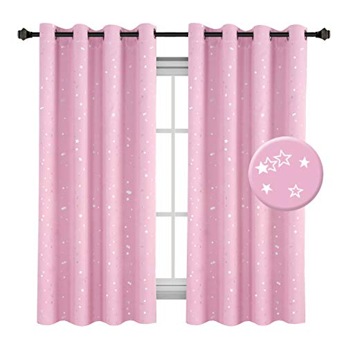 (H.VERSAILTEX Glitter Stars Pattern Home Fashion Sleep-Enhancing Thermal Insulated Ring Top Blackout Window Curtains/Drapes for Bedroom, 1 Panel, W52 x L63 inch)