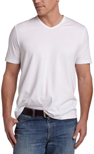 Perry Ellis Men's V-Neck Tee Shirt,Bright White,XL