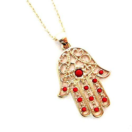 Ularmo Girl Hamsa Hand Of Fatima Pearl Chain Beads Necklace Pendant Jewelry (Red)