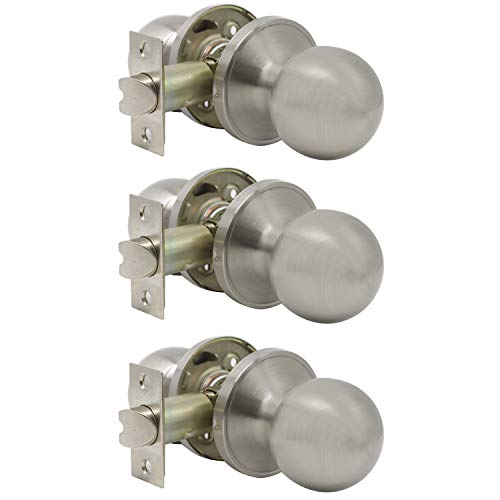 Probrico Ball Passage Door Knobs Handles Hall Closet Keyless Door Lock in Satin Nickel Finish, 3 Pack