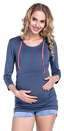 Happy Mama. Para Mujer Top Capucha Panel de la Lactancia Premamá Sudadera. 426p Azul Gris