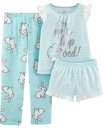 Carter's Girls' 3-Piece Poly (Turquoise/Bunny, 5)