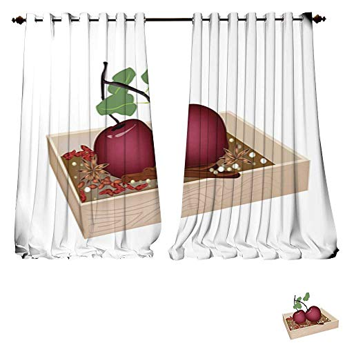Dividers Hulk Container (DESPKON-HOME Blackout Curtains Panels for Bedroom Christmas Apples and Spices in Wooden Container Solid Ring Top Window Drapes-W108 x L96/Pair)