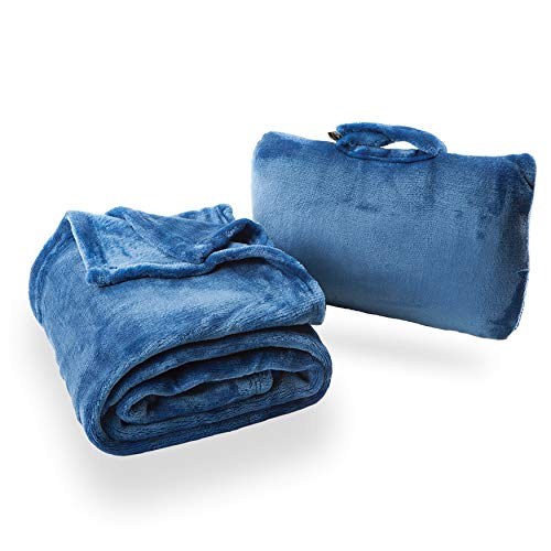 Cabeau Fold 'n Go Travel and Throw Blanket Plus Compact Case - For Home and Travel - Doubles as Lumbar Pillow and Neck Support Pillow - French Microfiber Comfort - Blue ()