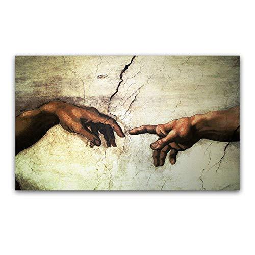 LOIUYT Creacion de Dios grabados de la mano de Adan Frescos religiosos Famosos cuadros de copias de frescos en la Capilla Sixtina de Miguel Angel 40X60CM