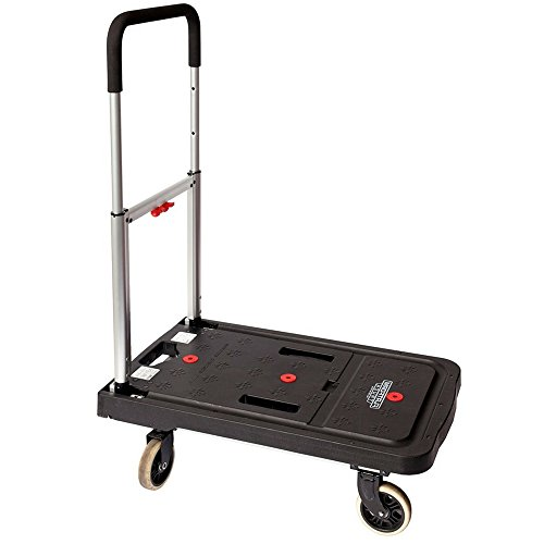 Hand Truck Foldable 300 Lbs Heavy Duty Lightweight Dolly Folding Durable Stainless Steel Aluminum Frame 4 Wheel Tires Folds Flat Easy Unloading Quick Conversion Storage Adjustable & eBook By NAKSHOP by WLC