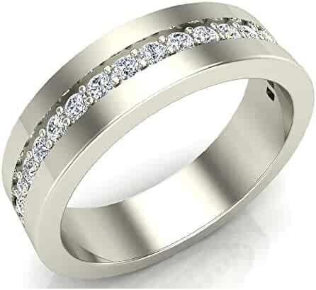 Men's Diamond Wedding Band Semi-Eternity Wedding Ring 18K Gold 0.45 ct tw (G,VS)