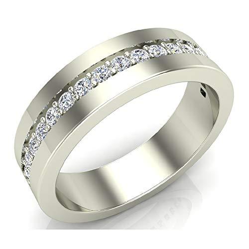Men's Diamond Wedding Band Semi-Eternity Wedding Ring 18K White Gold 0.45 ct tw (Ring Size 10)