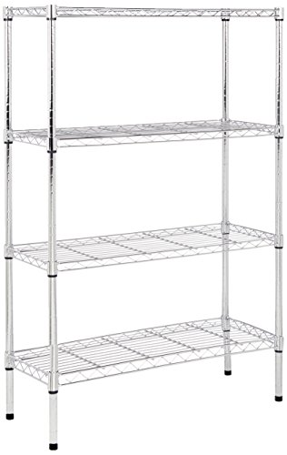 AmazonBasics 4-Shelf Shelving Unit - Chrome (Heavy Duty Metal Shelving)