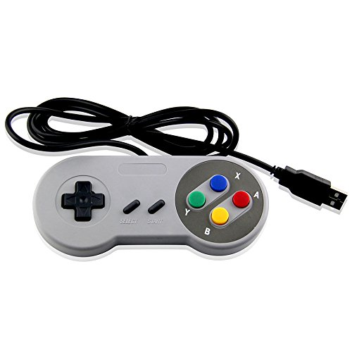 2 Pack - USB Classic Controller Colorful Gamepad Super Nes For PC, Mac, Rasperry, Emulator System - Mario Retro Brand - Generic Game Pad