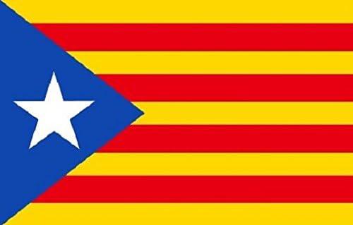 Cataluña independencia ESTELADA BLAVA BANDERA 5ft x 3ft Grande - 100%  poliéster - Ojales Metálicos - puntada DOBLE: Amazon.es: Jardín