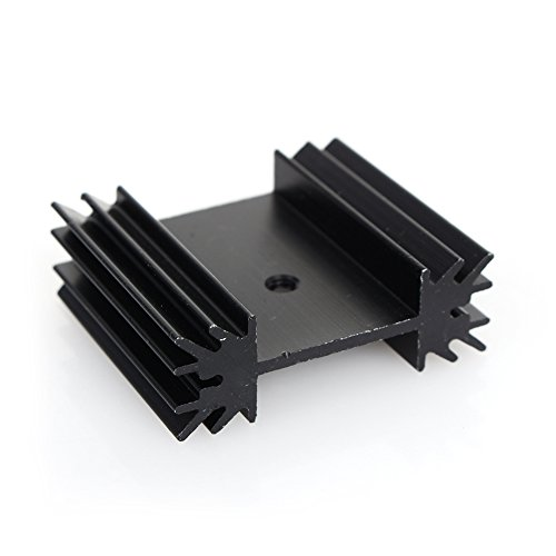 Small Black Aluminum Heat Sink Module Cooler Fin for Package TO-220 Diodes, Non-Inductive Resistors, LM78xx LM317 LM337 Regulator IC, Small Power Transistor Semiconductor Devices (100 pcs)-J by Walfront