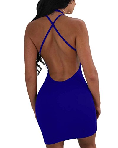 Del Donne Adogirl Spaghetti Mini Bodycon Pizzo Club Fino Backless Delle Abito Royal Blu Trasversale Di Sexy tBq0tH