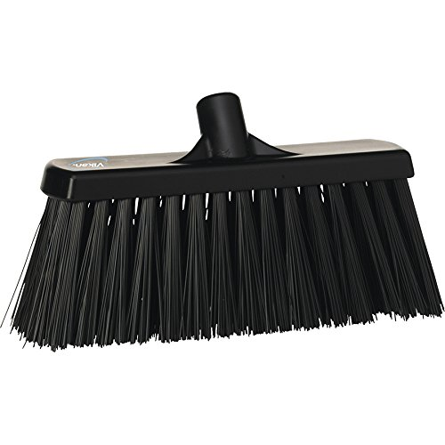 Black Stiff Broom (Vikan 29159 Heavy Duty Block Sweep Floor Broom Head, PET Bristle Polypropylene, 20-1/2