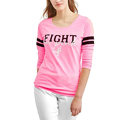 Susan G. Komen Women's Long Sleeve Varsity Graphic T-Shirt (Medium 8-10)