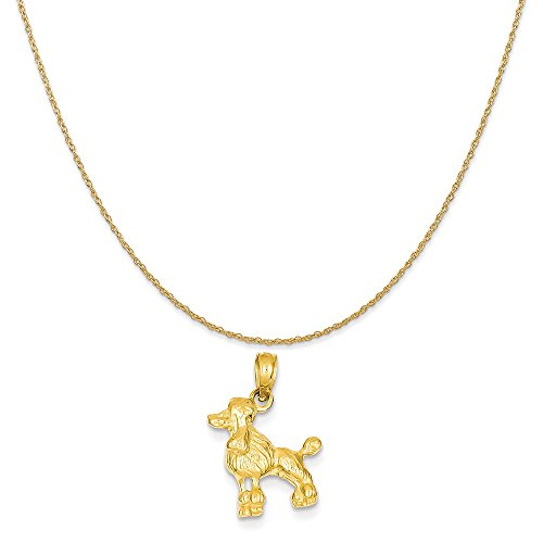 Mireval 14k Yellow Gold Poodle Dog Pendant on a 14K Yellow Gold Rope Chain Necklace, 20