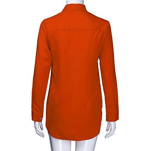 Manche Bureau Top Femme Chemise Longue de Orange Chic Blouse Col Tonsi V Chemisier Taille Bouton Grande 7xvqUz