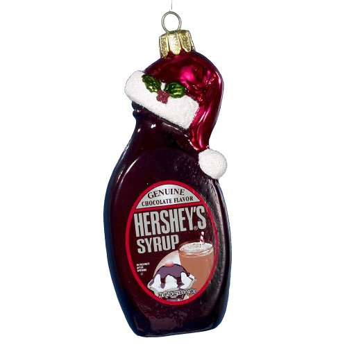 Hershey Kurt Adler Glass Hershey's Syrup Bottle Ornament, 5-